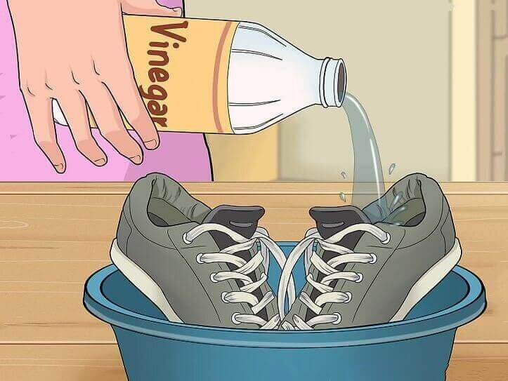 Clean shoes with vinegar