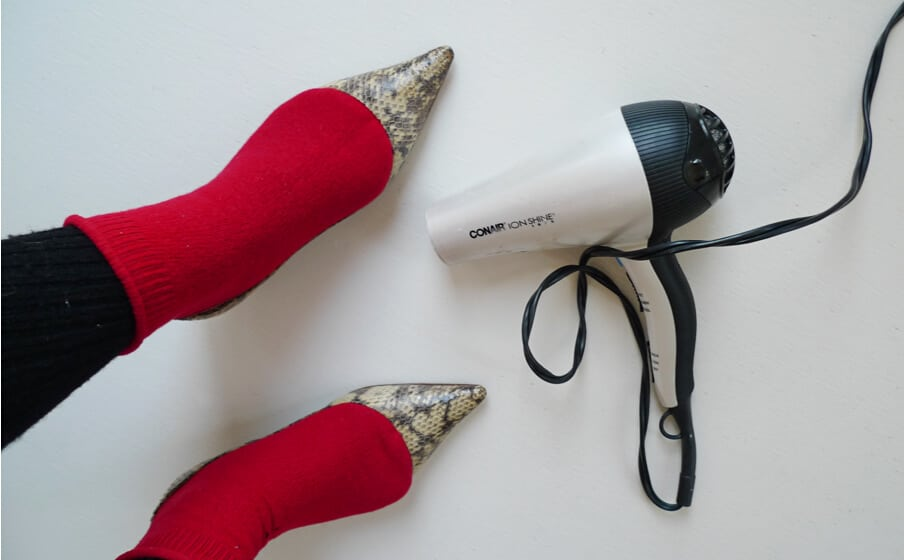 stretch shoes using hair dryer